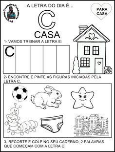 Para Casa Letra C Alphabet, Diagram, Teaching, Children, School, Professor, Letter C Activities, Abc Centers, Sight Word Activities