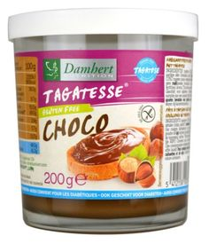 Chocolate Hazelnut Spread from Tagatesse on www.sukrinusa.com. Gorgeous chocolate and hazelnut flavor – rich and creamy with no sugar added. Sweetened with tagatose – a natural origin sweetener with a very low GI of  2. The body responds to tagatose like a soluble dietary fiber. Each large serving of 2 tablespoons provides 140 calories and only 2 net carbs! Suitable for diabetics.