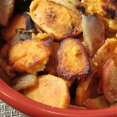 Grilled Sweet Potatoes with Apples Allrecipes.com.  I baked at 350 for 30 mins covered then another 20.  Used brown sugar instead of white and EVOO instead of butter.  Delicious with pork chops.