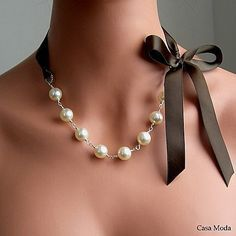 1fe9d64caebb Items similar to Pearl And Ribbon Necklace With Swarovski Crystal White  Pearls And Chocolate Satin Ribbon 19 Inches on Etsy. Collar Con CintaCollar  ...
