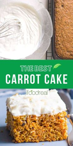 Easy, moist and healthy! The best carrot cake recipe out there! Low Sugar Cakes, Low Sugar Desserts, Low Sugar Recipes, Yogurt Recipes, No Sugar Foods, Easy Cake Recipes, Baking Recipes, Clean Recipes, Low Fat Carrot Cake