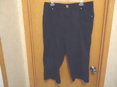 Womens Christopher & Banks Size 12 Blue / Black Colored Capri...