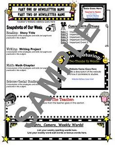 hollywood classroom theme | Hollywood-Themed Newsletter