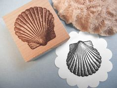 Seashell Scallop Rubber Stamp This graphic will be a beautiful feature to your cards, tags, or whatever you dream up. Beautiful for wedding