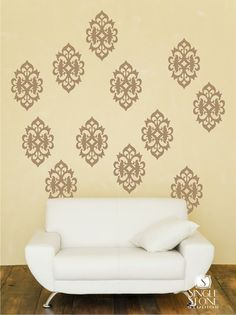 In Cranberry above the TV  Wall Decals Ornate Wall Pattern  Vinyl by singlestonestudios, $32.00