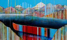 Tout prêt du but, mixed media canoe painting by Sylvain Leblanc   Effusion Art Gallery + Cast Glass Studio, Invermere BC