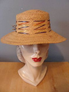 Vintage Sun Hat 60 s Woven Straw Beach Hat Raffia Colorful Colored Weave 8719b49ea4fa