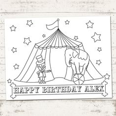 Circus Party Carnival Party Coloring Sheet by ValeriePullam