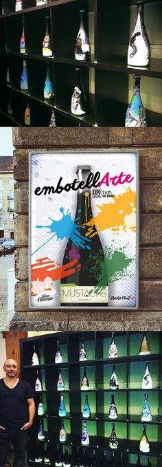 """Cartel de EMBOTELLARTE 2016. Exposición y venta de botellas pintadas en """"La Buena Cerveza"""", Madrid"""