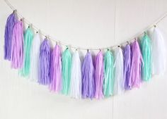 14 inch Pastel Mint Green, Lavender, and Lilac Paper Tassel Garland - Pastel Party Decoration