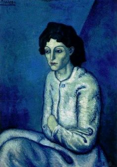 "Femme aux Bras Croises by Pablo Picasso. This painting was painted in 1901 by Pablo Picasso, the days of ""Blue Period"" during which Picasso had ""darkness"" and the sadness in his life. The beauty and blue in his paintings at that time is dominant. Kunst Picasso, Art Picasso, Picasso Paintings, Picasso Images, Sad Paintings, Picasso Style, Watercolor Paintings, Henri Matisse, Henri Rousseau"