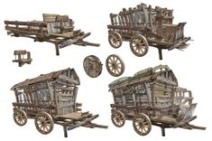 ArtStation - old wagon, HyunHo Park Dungeons E Dragons, Old Wagons, Game Props, Prop Design, House Drawing, Fantasy Rpg, High Fantasy, Environment Concept Art, Fantasy Illustration