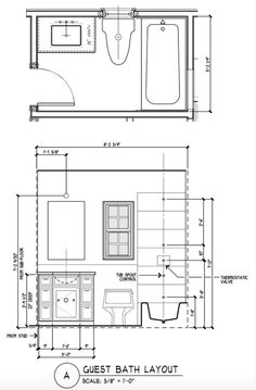 Great Layout Idea For Standard Bathroom Plus Elevation Views