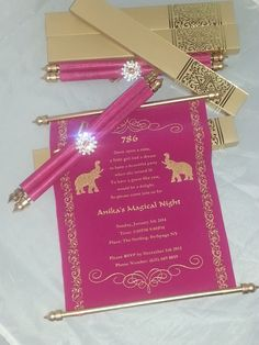Decorative Scroll invitation with rhinestone decoration (Set of 25) - SCW-004 - Arabian party invitation - Color Print Outlet