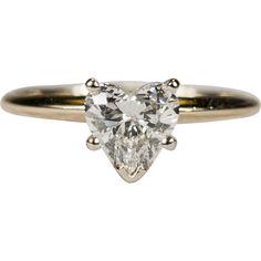 Ravishing Solitaire Heart Diamond Ring 14k Gold 1.5ctw