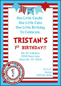Dr Seuss Birthday Invite
