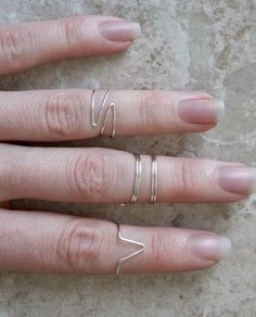 Mid Knuckle Rings, Set of 4, Silver Above The Knuckle Rings, Bohemian Rings, Midi Rings via Etsy
