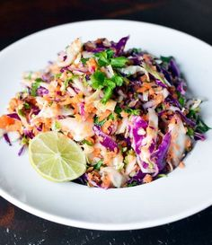 colorful coleslaw with lime dressing.  this would be a great lunch with baked tofu!