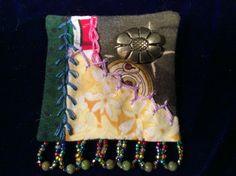 Crazy quilt pin brooch
