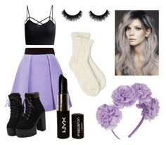 """""""Pastel Goth"""" by brookemerryman ❤ liked on Polyvore featuring FAUSTO PUGLISI, NYX and Falke"""