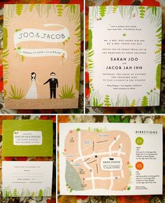 nature inspired wedding invitation Yes, a gazillion colors. Like the plants (please do not use succulents), the map with wedding/reception locations, don't like backside of rsvp postcard.
