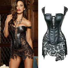 Gender: Women Item Type: Bustiers & Corsets Brand Name: funnygirl Material Composition: PU leather corset Decoration: Hollow Out Model Number: 0903 steampunk corset Pattern Type: Print Style: Sexy Material: Synthetic Leather size: XS/S/M/L/XL/2XL/3XL/4XL/5XL/6XL plus size Corset Dress color: black lace leather corset material: faux leather lace Shaper condition: 100% brand sexy steampunk corset type: sexy corsets skirt feature: leather waist trainer style: sexy lingerie style 2: Steampunk Co Steampunk Corset Dress, Costume Steampunk, Corset Outfit, Sexy Corset, Sexy Lingerie, Leather Lingerie, Leather Underwear, Leather And Lace, Black Leather Corset