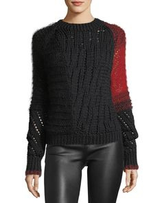 Helmut Lang Patchwork Cable-Knit Crewneck Wool Sweater and Matching Items