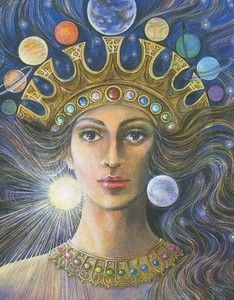 "Ishtar as Queen of Heaven with the crown of planets and zodiac signs in card deck Goddesses of the New Light by Pamela Matthews - Ishtar means ""The Lightbringer"", she is known as the Akkadian Goddess of war, fertility and love. Earth Goddess, Goddess Art, Goddess Of Love, Ishtar Goddess, Queen Of Heaven, Mother Goddess, Sumerian, Visionary Art, Sacred Art"