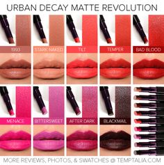 Urban Decay Matte Revolution Lipstick Swatches
