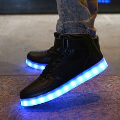 Black frenzy shoes and high top? Awesome combination. Light em up! Features - There are 7 color options in every shoe which are White, Blue, Red, Green, Yellow, Purple, and Aqua. You can choose one co