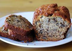 Moist banana bread with walnuts