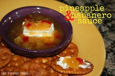 Our Forever House: Pineapple & Habanero Sauce Knock-Off (tastes just like the Rothschild sauce available at Costco) Pineapple Habanero Sauce, Habanero Salsa, Copycat Recipes, Sauce Recipes, Snacks Recipes, Paleo Recipes, Roasted Pineapple, Glaze Recipe, Appetizer Dips