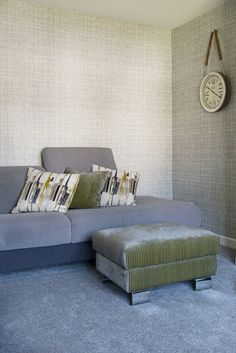 """Wabi Sabi by Scion. Cushions in """"Zeal"""" - Momentum 4 fabrics by Harlequin. Grey Lounge, Dining Room Design, Wabi Sabi, Modern Contemporary, New Homes, Cushions, Lounge Ideas, Couch, Scion"""
