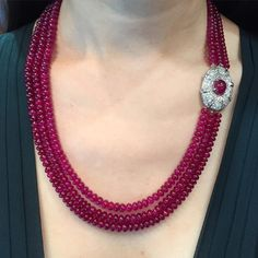 #christiesjewels #burmaruby #rubynecklace Three magnificent strands of Burma ruby bead necklace, no heat at Hong Kong Magnificent Jewels 05.31.2016