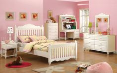 Pricess Picket Fence Turned Legs Bun Feet White Wood Kids Twin Bed Dimensions Bedroom Setskid