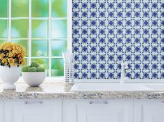 A painted backsplash can be so blah. Whether you rent or own, you can make a fast change -- and it doesn't need to mean forever. Tyles Knife Floral in King Blue.