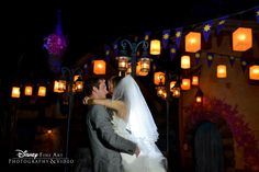 The floating lanterns from Tangled offer one of the most romantic photo ops in Magic Kingdom #Disney #wedding #lanterns #Tangled