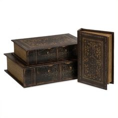 IMAX Corporation Old World Book Box Collection (Set of 3) ($63) ❤ liked on Polyvore featuring home, home decor, small item storage, books, fillers, book boxes and pattern box