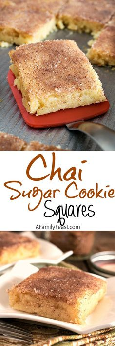 Chai Sugar Cookie Squares - Adapted from a Momofuko Milk Bar recipe, these Chai Sugar Cookie Squares are easy to make and delicious!