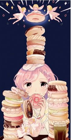 Donats everywhere, i love this funny image and girls with sweets oboviusly