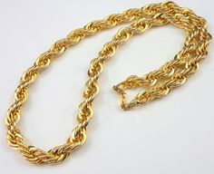 "Vtg NAPIER Chunky 18K Gold Plated Rope Style Chain 24""L 10mm Wide 1980's 145g #Napier #Chain"