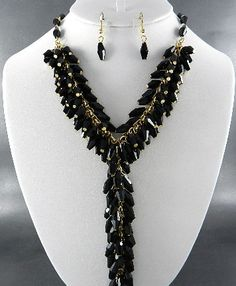 Black glass necklace set