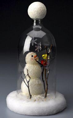 DIY snowman cloche from a soda bottle