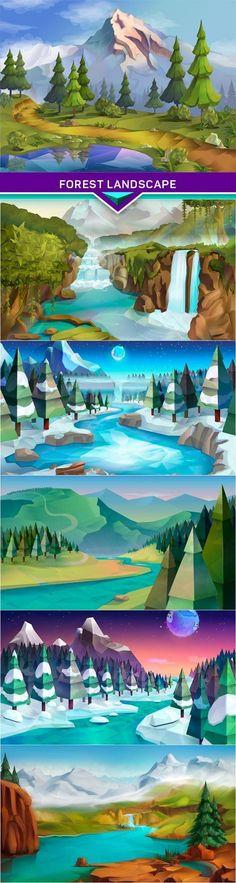 Forest landscape nature vector background 6x EPS: