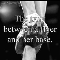 I'm a flyer and coed stunt all the time. My base is the best, love him. But the connection we have is his hands and my feet/foot. Flyers: never be scared, your bases are the only people you can actually kick in the face and they still catch you.