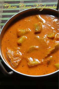 Easy Chow Chow Kuzhambu Recipe - Chayote Kuzhambu Recipe - Yummy Tummy Easy Veg Recipes, Chow Chow, Recipe Using, Curry, Ethnic Recipes, Food, Curries, Essen, Meals