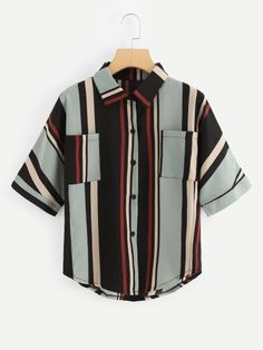 Shop Dual Pocket Striped Shirt at ROMWE, discover more fashion styles online. Cool Outfits, Summer Outfits, Casual Outfits, Fashion Outfits, Dress Up Closet, Fiesta Outfit, Embroidered Clothes, Dad To Be Shirts, Types Of Fashion Styles
