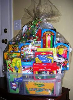 Fun Festive DIY Christmas Gift Basket Ideas - This Tiny Blue House - - Spread some holiday cheer with these festive and unique DIY Christmas baskets. Here are over 100 fun festive DIY Christmas gift basket ideas. Theme Baskets, Kids Gift Baskets, Themed Gift Baskets, Raffle Gift Basket Ideas, Gift Ideas, Fundraiser Baskets, Raffle Baskets, Diy Christmas Baskets, Diy Christmas Gifts