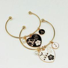 Charm Bracelets – Bracelet with charms heart color white black – a unique product by birdofparadise97 on DaWanda