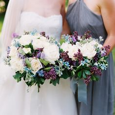 bouquet of lilacs, peonies, tweedia, lavender, sweet peas, garden roses, scented geranium, mint, and lilac leaves